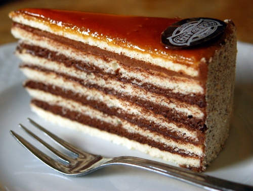 Dobos Torte! One of my favourite cakes; mine never looks this elegant but but I'm getting there on the taste factor.