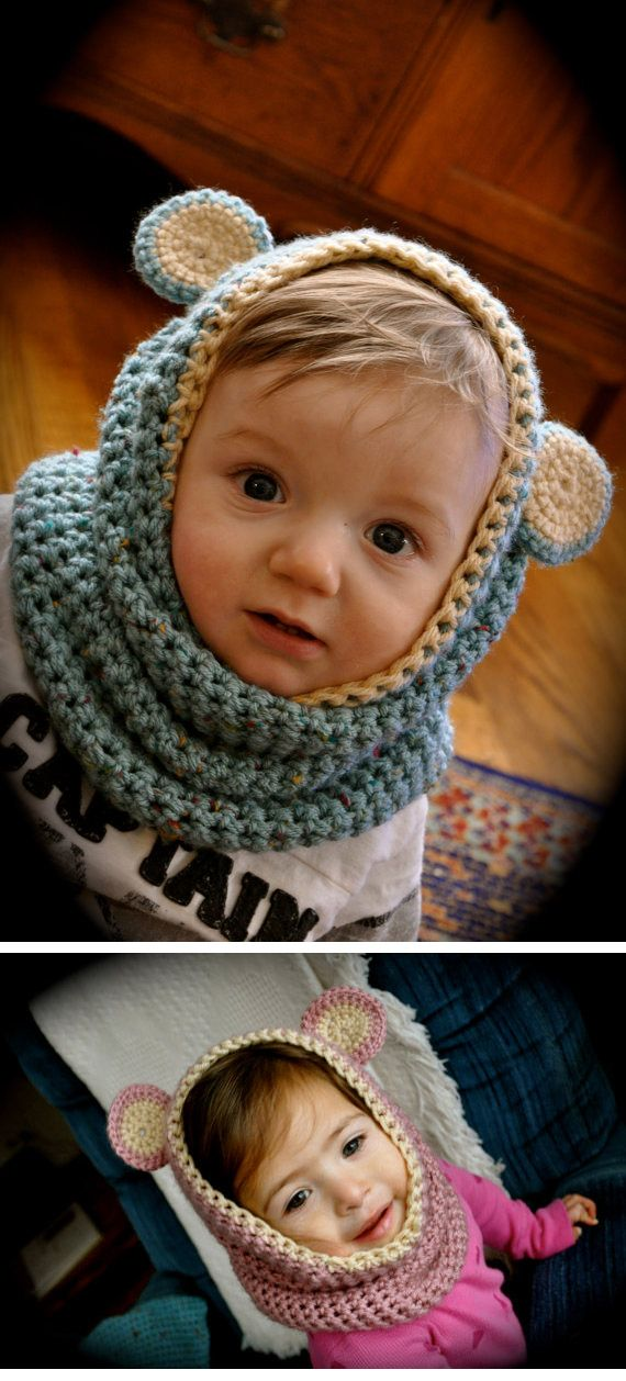 bluebear & rosebear baby cowls ( Etsy :: http://www.etsy.com/listing/78063920/bluebear-rosebear-baby-cowls-finished )