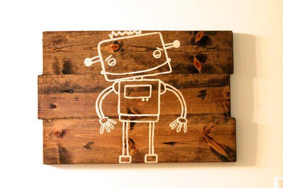 Robot Art, Boys room wall art, baby boy nursery art, Kids Robot art on Etsy, $48.00