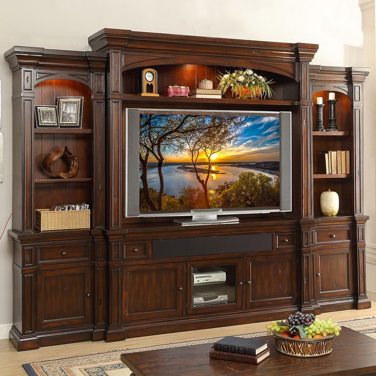 berkshire 6 piece entertainment wall unit in distressed on wall units id=99590