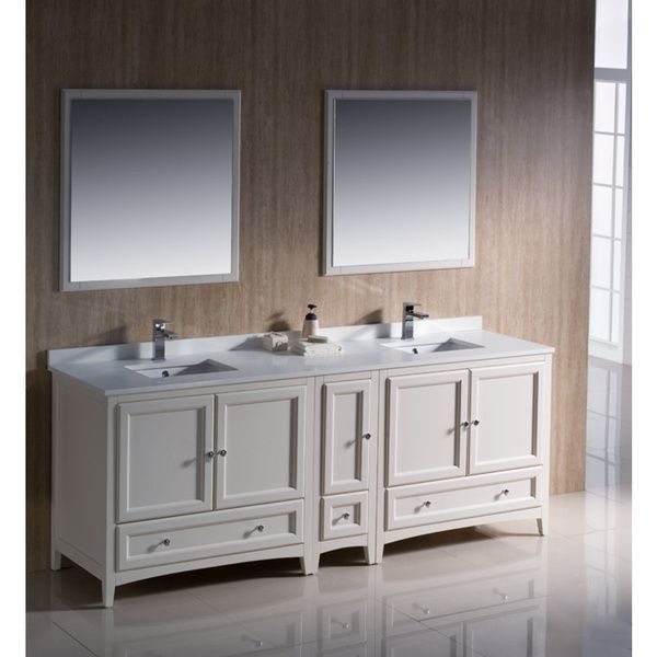 Best Photo Gallery Websites Fresca Oxford inch Antique White Traditional Double Sink Bathroom Vanity with Side Cabinet