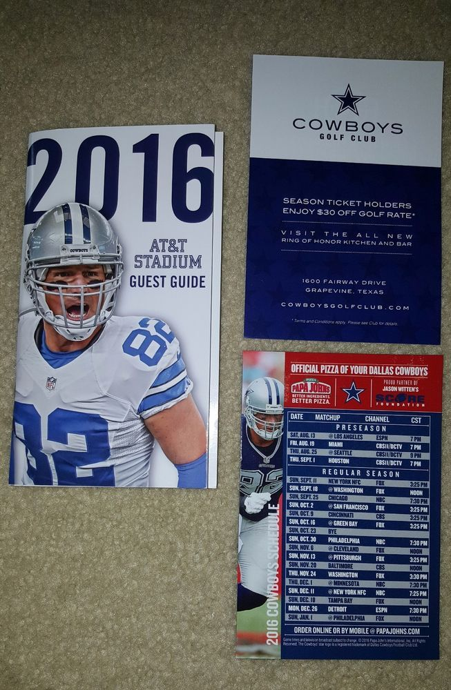 2016 Dallas Cowboys NFL Season Ticket Holder Stadium Guide, Magnet Schedule