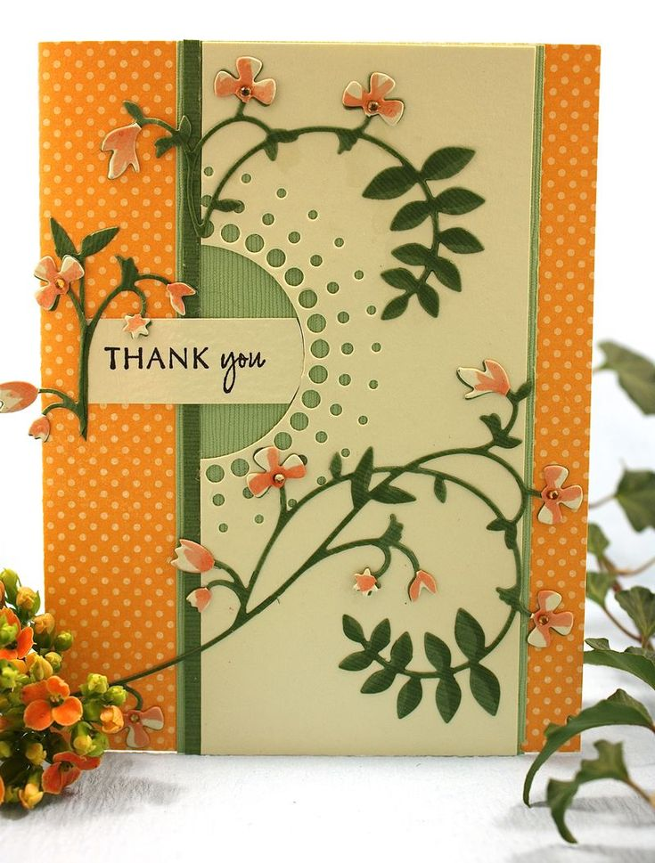 Beautiful Blooming Vine -from the Outside The Box blog Memory Box dies 98470 Blooming Vine, 98478 Large Circle Burst, B1751 Thank You Combo Stamp  77905 Mango Distressed Dots Paper