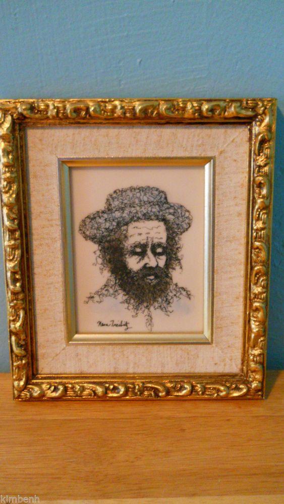 Judaica Rabbi Hand Painted By Artist Nesa Treibitz Gold