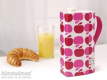 niedrige Kanne für Safttüte - Äpfel rot pink