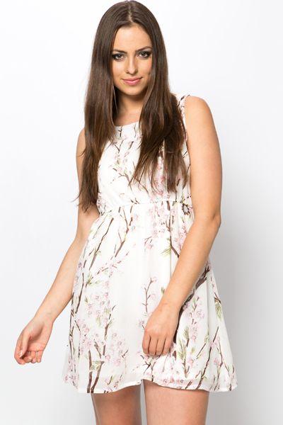 Pretty Floral Chiffon Tea Dress
