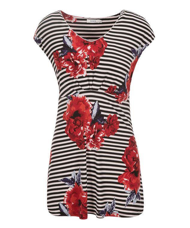 Extended Sleeve V-neck Tunic, White/Red/Blue Print #rickis #summer #summer2017 #summerfashion #rickisfashion #poppyfields #red #poppyred #colourofthemoment #loverickis