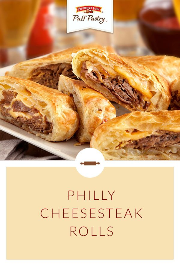 Pepperidge Farm Puff Pastry Philly Cheesesteak Rolls Recipe. Friends and family will cheer for this crowd pleaser. Tender steak and melty cheese is wrapped in flaky Puff Pastry for an appetizer that's an absolute winner. Pour a cold beverage and bring out a platter of these fan favorites. They're easy to make, and even easier to enjoy!