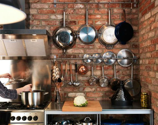 Kitchen ideas...hanging pots and utensils on stainless steel rods.