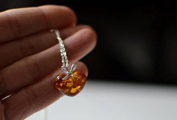 Love Necklace Amber Heart Pendant Heart Jewelry Silver