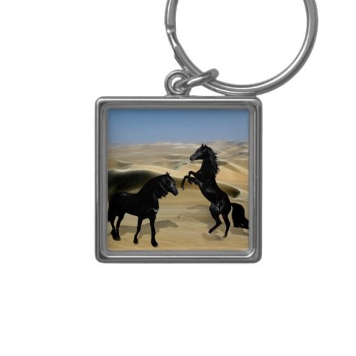 Wild black beauty horses keyring