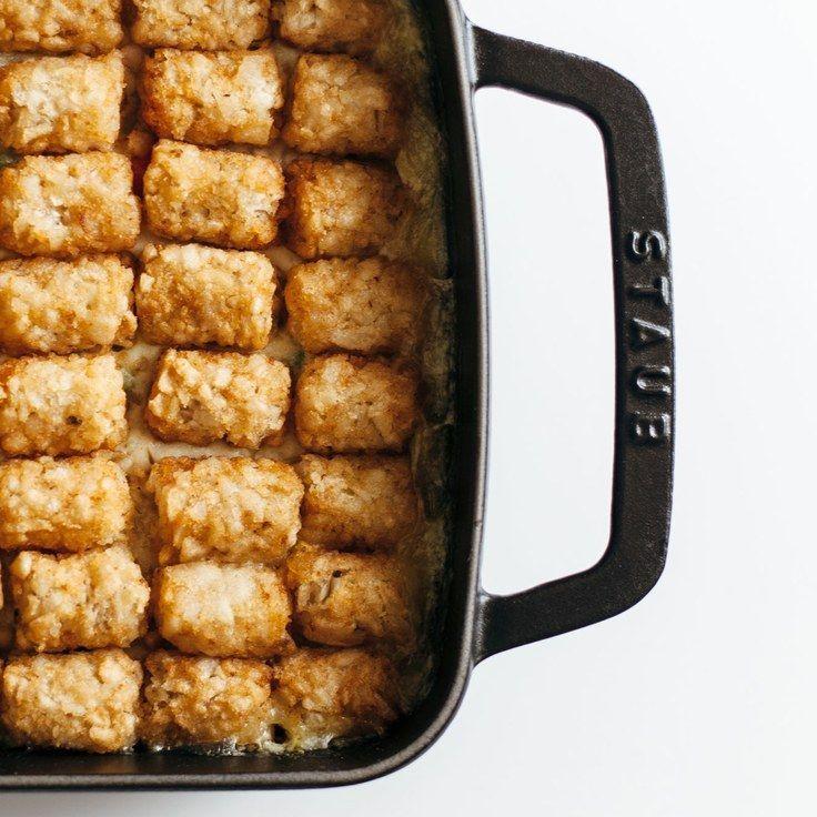 Chicken Pot Tot Hotdish - Epicurious . A money saving recipe made with chicken thighs & frozen tater tots!