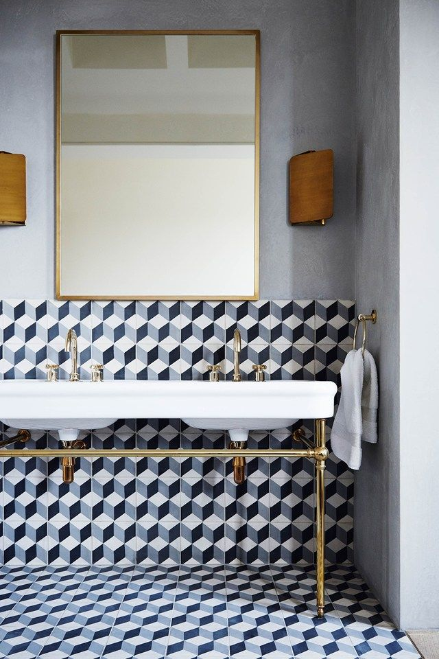 Sophisticated Notting Hill Town House - Real Homes (houseandgarden.co.uk) patterned tiles in black and white / brass details in the bathroom