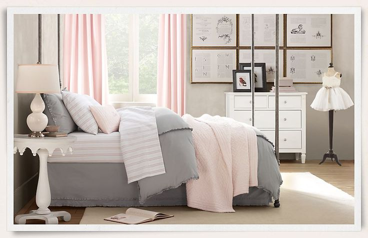 Would love this with lavender instead of pink. I really like the iron canopy bed! Rooms   Restoration Hardware Baby & Child