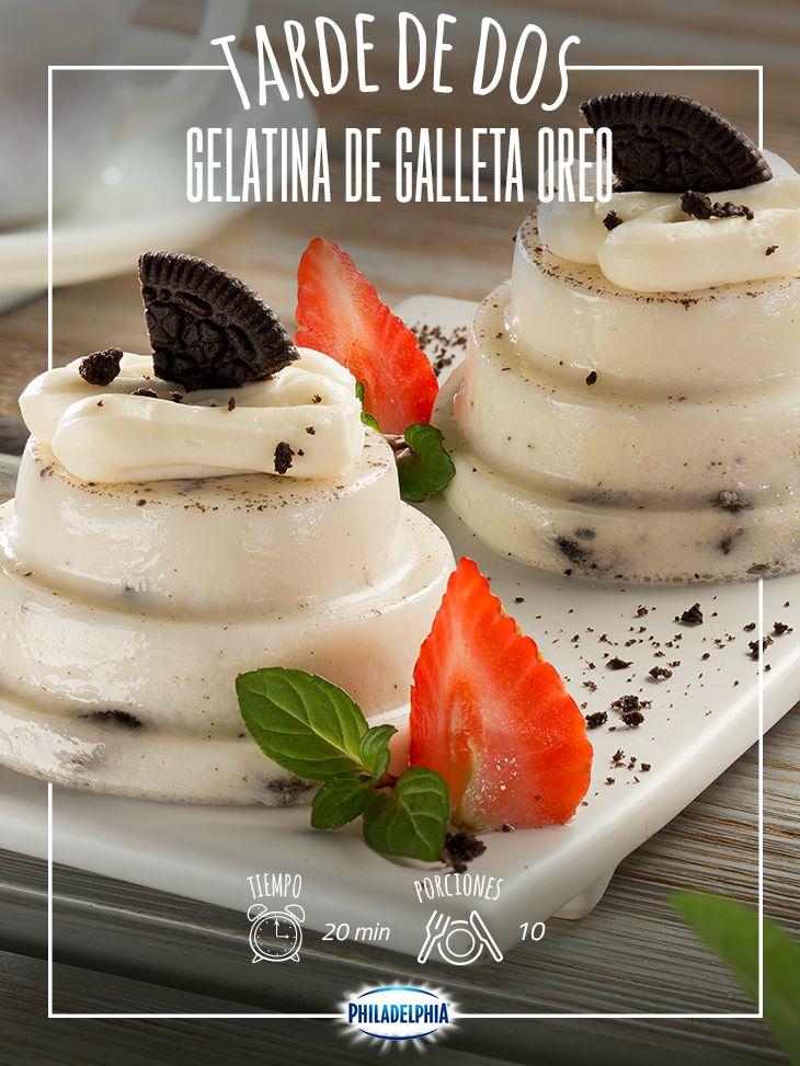 Invita a esas amigas que no ves desde hace tiempo y pasen una tarde increíble con este rico postre.  #quesophiladelphia  #quesocrema #philadelphia #oreo #postre #gelatina #chocolate