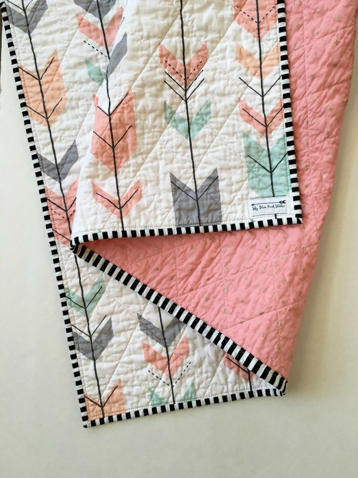 Modern Baby Quilt-Modern Toddler Quilt-Baby Quilt Blanket-Handmade Baby Quilt-Baby Quilts for Sale-Arrow Boho Tribal-Wholecloth Quilt by skybluepinkstudio on Etsy