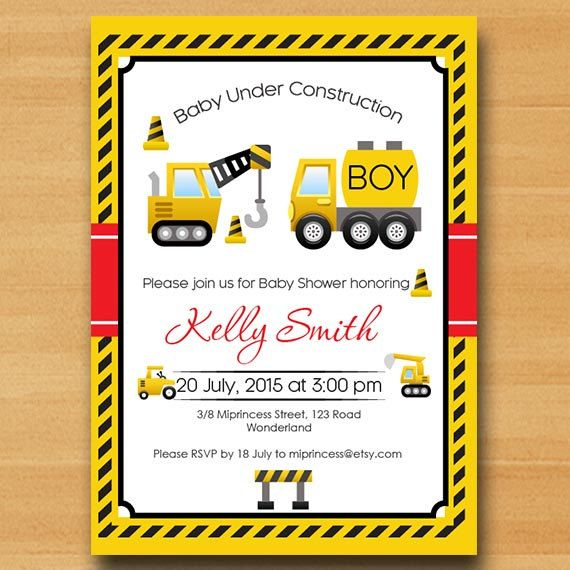 Construction Baby Shower Invitation, boy baby shower, baby shower invitation or…