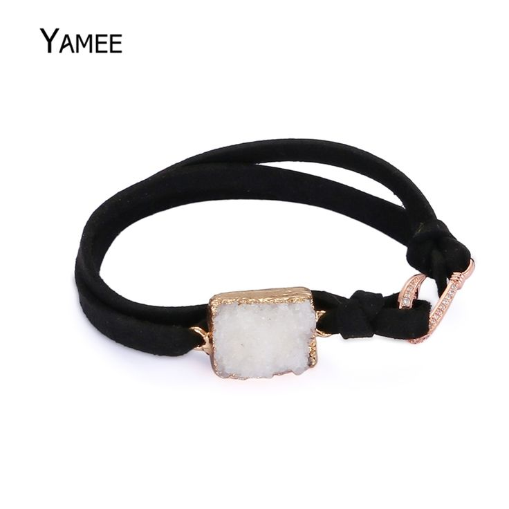 Find More Charm Bracelets Information about Unique Square White Crystal Druzy Natural Stone Rose Gold Color Plated Pave Zircon CZ Pendant Leather Rope Bracelets For Women,High Quality bracelets for,China rope bracelet Suppliers, Cheap bracelets for women from Juliana Handmade Store on Aliexpress.com