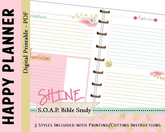 HAPPY PLANNER S.O.A.P. Bible Study Printable by myunclutteredlife                                                                                                                                                                                 More