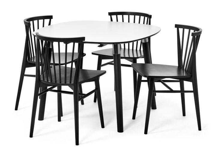 Mario matgrupp med Viktor stol andas modern skandinavisk design. Matbordet har tablettformad skiva i vitt högtryckslaminat med svart fasad kant och svartlackerade ben med metalldetaljer. Viktor är en trendig stol designad av dansken Morten Georgsen. Den är i vit- eller svartlackerat massivt gummiträ. Med sitt rundade ryggstöd för stolen en riktigt skön sittkomfort.