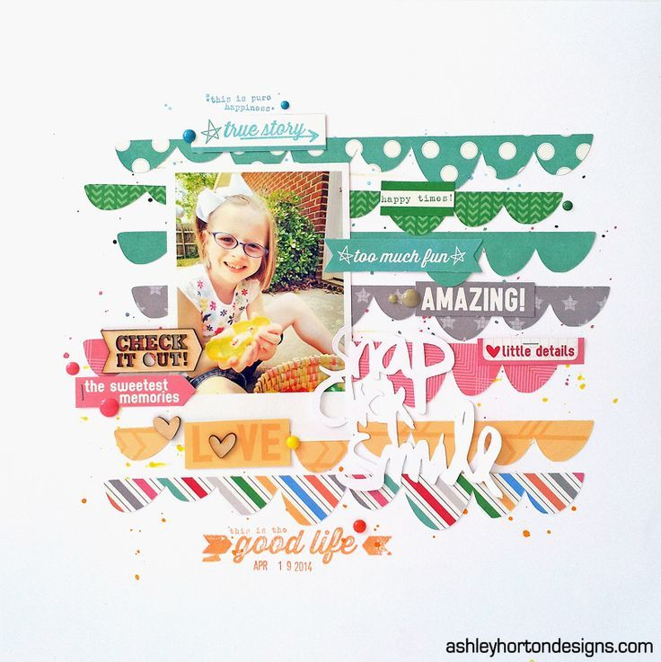 Snap Click Smile - Scrapbook.com - Create your own background with a rainbow of patterned papers cut into scallops.