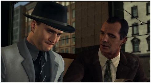 Cole  Phelps trying not to burp in front of Capt. Donnelly.