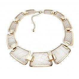 White on gold interlocking snake skin leather look collar necklace.