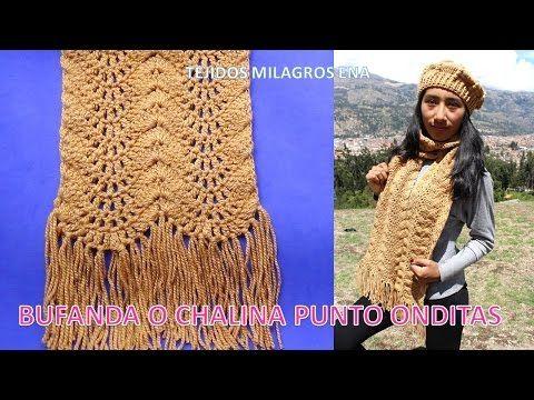 Bufanda o Chalina punto Onditas paso a paso tejido a crochet o ganchillo muy Fácil y rápido de tejer - YouTube
