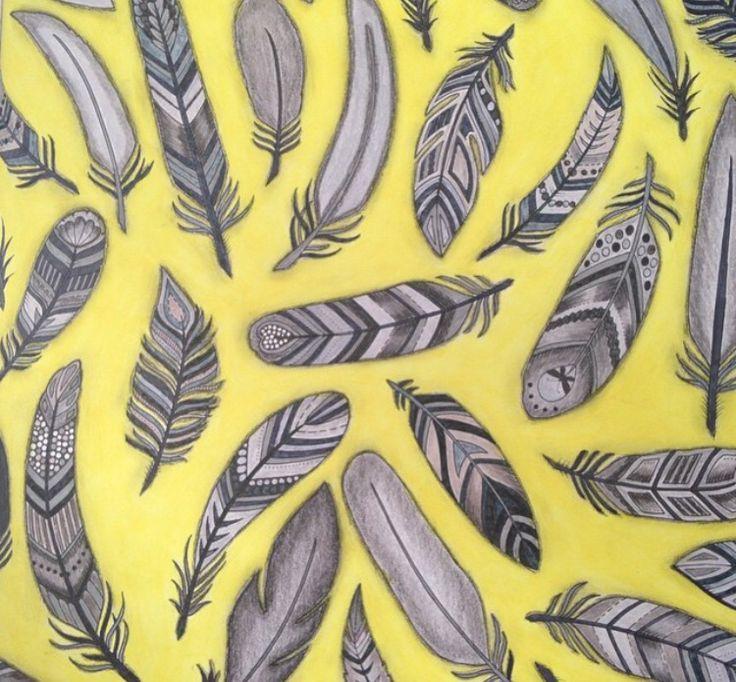 Feathers Enchanted Forest Penas Floresta Encantada Johanna Basford Coloring BooksColouringJohanna