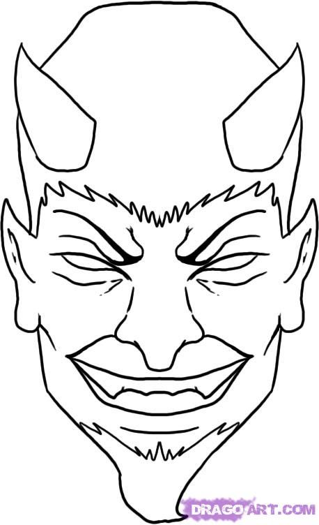 How to Draw a Devil Face, Step by Step, Tattoos, Pop