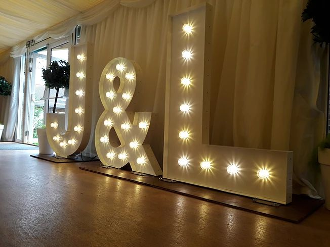 kms hire giant light up letters at mulberry house wedding venue essex