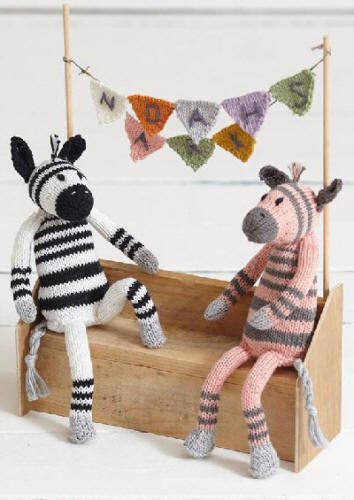 Part 4 of the free Sirdar Noah's Ark knit-along patterns is for Zoe & Zack. They are Zany Zebras with stripey coats knitted in Cotton DK, but you don't need much yarn so any DK should be suitable. http://www.cpu-enterprises.com/sirdar/main.htm