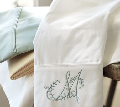 Monogrammed sheet set with the letter S- white or ivory sheets with beige/khaki/light golden color monogram