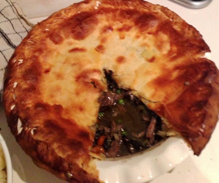 Roast lamb mushroom and pea pie.
