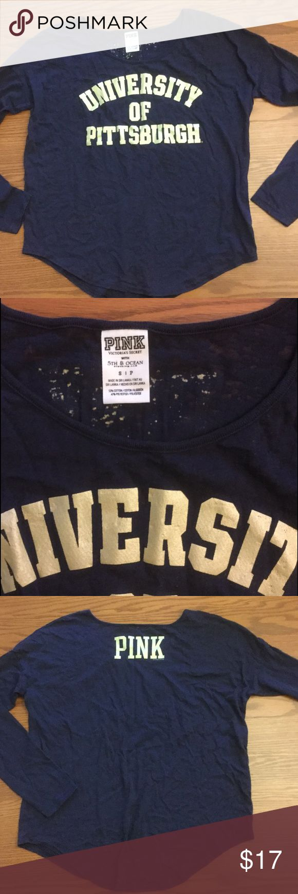 VS PINK University of Pittsburgh T-shirt Cute Victoria's Secret PINK long sleeve collegiate t-shirt❗️  In great shape!  Navy with gold letters.  University of Pittsburgh PINK Victoria's Secret Tops Tees - Long Sleeve