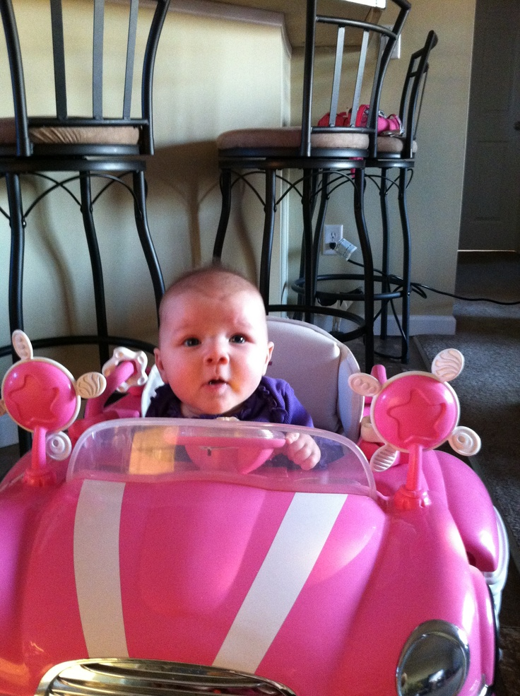 Chilling in her pink car