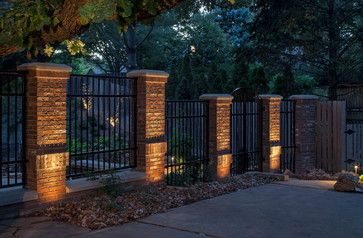 Brick and Iron Fence Designs | 10,819 brick pillar fence Home Design Photos