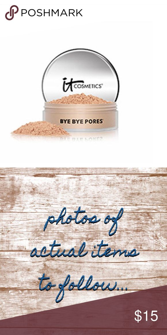 ITCosmetics Bye Bye Pores Tinted Finishing Powder ITCosmetics Bye Bye Pores Tinted Skin Blurring Finishing Powder Light Sampled  Used 1-2 times…did not work for me  #1 best-selling, award-winning powder  Airbrushing in a jar  Bye Bye Pores Optical Blurring Technology™ blurs imperfections for a flawless finish  Anti-aging with silk, hydrolyzed collagen, antioxidants and peptides  Retail Value $20  PM Price $15 IT Cosmetics Makeup Foundation