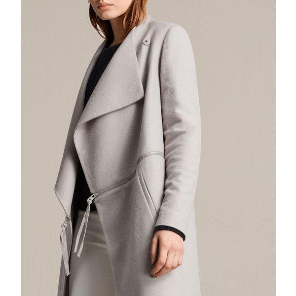 AllSaints Ora Zip Coat (660 SGD) ❤ liked on Polyvore featuring outerwear, coats, moth grey, gray wool coat, zip coat, zipper coat, butterfly coat and long woolen coats