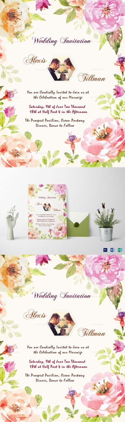 Watercolor Wedding Invitation Template $12 - Easy to edit template with suggestive text, Change the names & use it. Available in Photoshop, MS Word, Publisher
