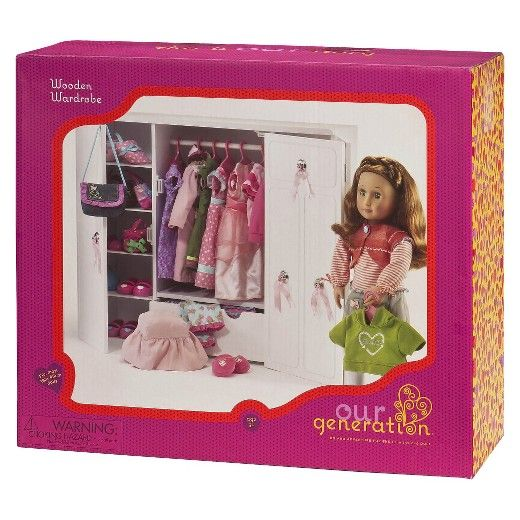 <p>Holds little outfits and big dreams. This stylish set includes 1 wooden wardrobe with vanity, 1 stool with removable seat cover and 5 plastic clothes hangers. Doll and accessories sold separately.<br /><br /><br />Our Generation<br /><br />We are an extraordinary generation, us girls. Sure, we're cute. But we're also curious, clever and rea...
