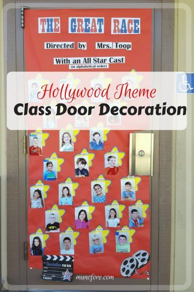 Hollywood Themed Classroom Door Decoration for Boosterthon Fun Run. Movie theme class door decoration.
