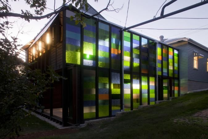 Home, small gallery and office in West End, QLD Australia by James Russell Architect Pty Ltd. Nice use of coloured glass.