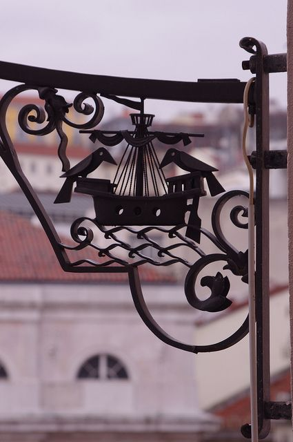 The coat-of-arms of the City of Lisbon as shown in one of its lamp posts | #Portugal #lisbon