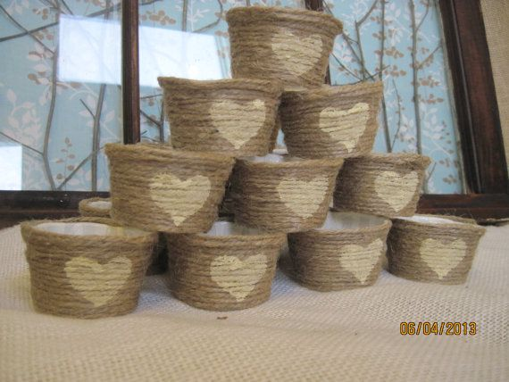 Jute Cupcake Wrappers 50 Papers Initals Heart Twine Wedding  Decor Party Real Rustic Country on Etsy, $59.00