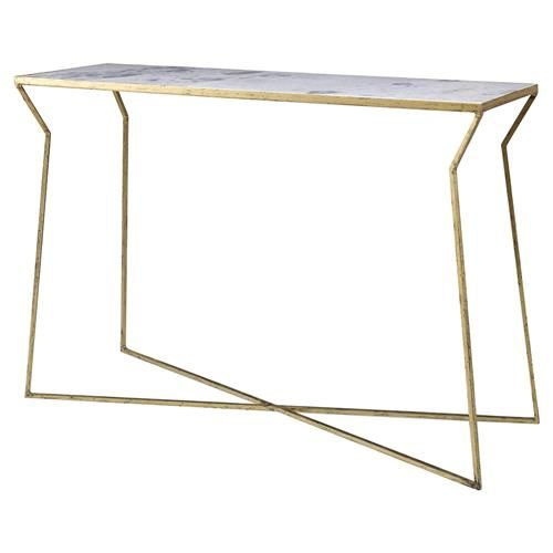 colbert modern classic bent gold marble console table