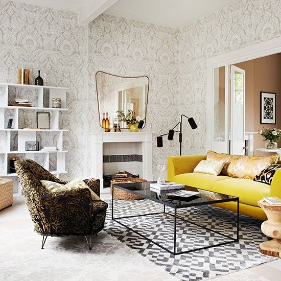 Living Room With Damask Wallpaper And Armchair