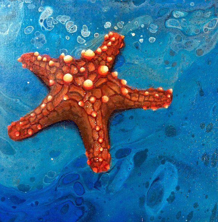 Mini Star Original Art by Kim  McLennan,  6 x 6 Acrylic on cradled wood panel