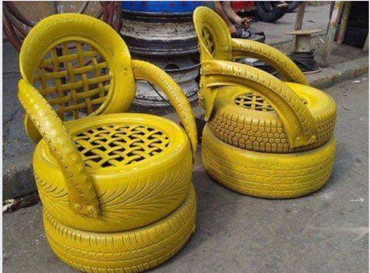 Yellow tire chair