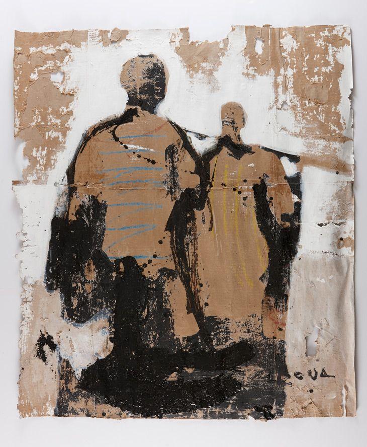 Armand Boua, Untitled, 2013, tar and acrylic on cardboard